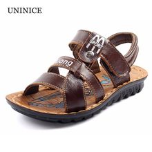 Children's shoes sandals 2017 new summer leather sandals boys big virgin size 26-41 flip flops kids beach shoes baby sandals