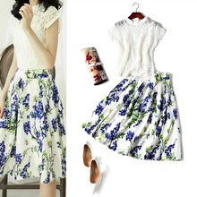 American fashion women's clothing small pure and fresh and lace top + collect waist printed pleated skirt suits batch