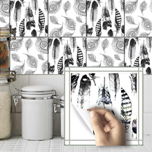Funlife 10pcs/lot Self Adhesive Anti Oil Waterproof PVC Black and White Feathers Tiles Stickers Kitchen Wall Decal TS011(China)