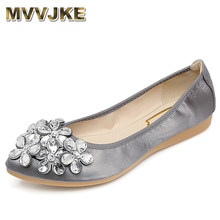 MVVJKE New Women Summer Shoes Pointed Toe Rhinestone Flowers Flat Shoes  Woman Soft Large Size Foldable Ballet Women Flats E094 52ad3a6f4808