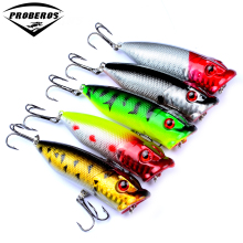 "5pc Fishing Lures 5 colors Popper Lure 2.9""-7.3cm/0.39oz-11g fishing bait 6# high carbon steel hook fishing tackle DXP001"