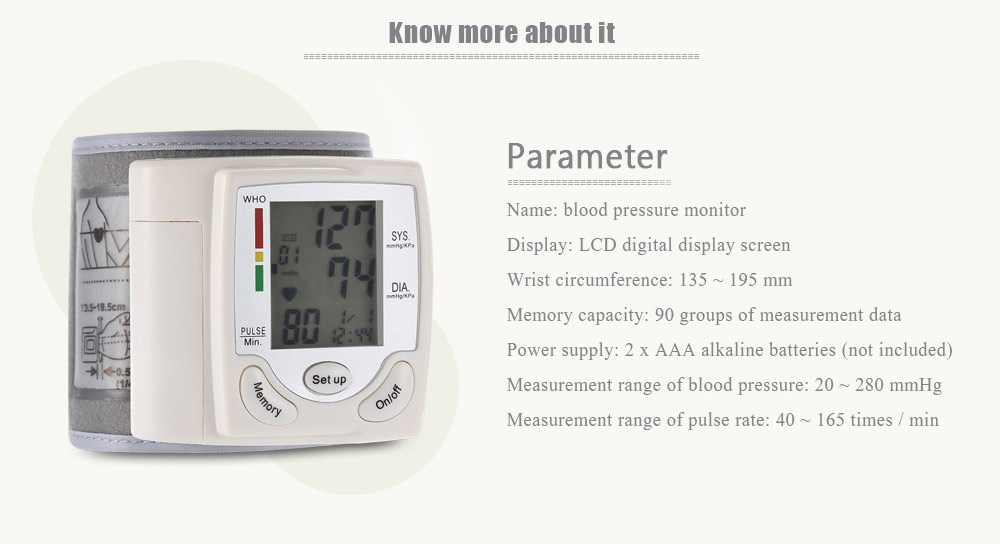 Health Care Portable Wrist Blood Pressure Pulse Meter Digital Automatic Blood Pressure Monitor Household Heart Beat Rate Measure 2