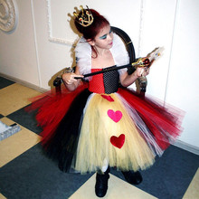 2017 Latest Queen Of Hearts Girl Tutu Dress Party Dresses Princess Pageant Gown Baby Kids Halloween Cosplay Outfit Birthday Gift(China)