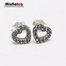 Authentic 925 Sterling Silver Be My Valentine, Clear CZ Earring Compatible with Brand Earrings Jewelry(China)