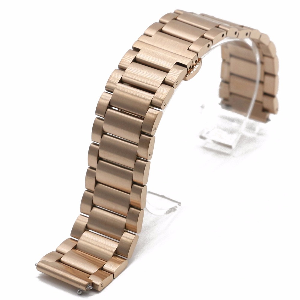 18mm Rose Gold 316L Solid Stainless Steel Bracelet Wrist Watchband Strap Belt Double Push Clasp Released Spring bar For HUAWEI<br><br>Aliexpress