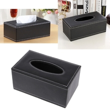 1Pc PU Leather Tissue Box Dispenser Napkins Holder Paper Towel Organizer Case Car Home Rectangle Shaped Tissue Box Container(China)