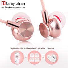 Langsdom Rose Gold Metal Earphone Fashion ErgoFit Noise Isolating earphones Super Bass Headsets with Microphone for Phone PC(China)