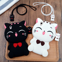3D Cute Smile Bow Cat Soft Silicon Black White Case Phone Cover Case for iPhone 5 5S SE 6 6S 7 Plus R9 R9S M3 Note Redmi 3 4 3S