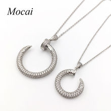 Brand Trend Simple Nail Necklace Gold Color Micro Pave Cubic Zirconia Modern Nails Necklaces Jewellery For Women ZK30