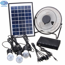 2017 New Solar Power Panel Charging DC USB LED Light Lamp Fan Kit For Home Outdoor Camping(China)