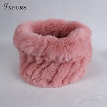 FXFURS 2017 Fur muffler scarf pullover women's autumn and winter thermal rex rabbit hair scarf winter warm fur ring headband(China)