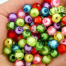Hot Selling 30pcs-100pcs Acrylic Faceted Plastic Round Spacer Beads 8mm 10mm 12mm for DIY Fashion Child necklace Jewelry making(China)