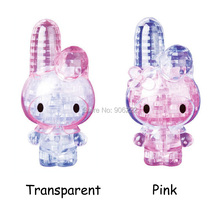 (2 pieces/lot) Adult Kids Two Colors 3D Crystal Puzzles Rabbit: 38 Pieces Children's Educational Toys