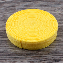 "50yards/lot 5/8"" (15mm) Yellow Shiny Solid Fold Over Elastic Ribbon FOE for Kids Girls Elastic Headbands Hair Ties Hairbow"