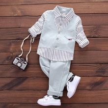 2017 Spring Autumn boy baby cothing suits for infant baby boys wear brand design gentleman casual sports shirt suit clothes sets(China)