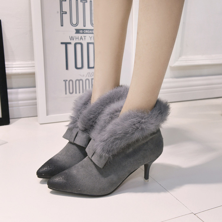 2017 New Winter Boots Woman Bow Suede Leather Elegant Fur Martin Botas Mujer Pointed Toe Ladies Shoes High Heels Boots Female<br><br>Aliexpress
