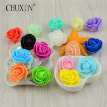 50pcs/lot 3.5cm Diameter flower head mini rose flower multi-use embroidery DIY wedding path wreath handcraft flower