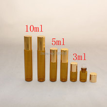 3ml x 50  amber color roll on  glass bottles  with aluminum cap,3cc Mini sample glass vial ,perfume glass bottles with roll on