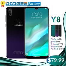 Tela do Smartphone DOOGEE Y8 6.1 polegada Waterdrop 3 GB GB 8MP + 5MP 16 Face ID Android 9.0 MTK6739 Quad -Core 3400 mAh 4G LTE celular(China)