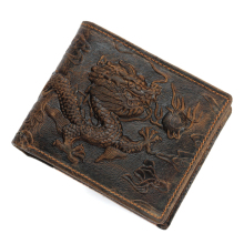 Vintage Portfolio Unique Design Chinese dragon Pattern Genuine Leather Men's Bifold Wallets High Quality Really Leather Purse(China)