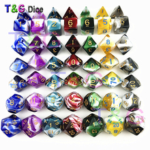 7PCS TRPG Dice for Dungeons & Dragons D4-D20 Multi Sided Games Dices 7 color Desktop Polyhedral Set Acrylic Plastic Toy Kit(China)