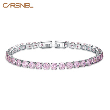 CARSINEL Colorful CZ Fashion Charm Bracelet Cubic Zircon Silver color Jewelry for Women Wedding Party Wholesale BR0122