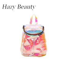 Hazy beauty new material transparent women backpack super chic lady shoulder bag color changing reflecting school bag cool A765