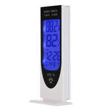 Indoor room temperature meter gauge device electronic wireless thermometer hygrometer date clock Backlight display HTC-8