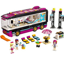 684 pcs/lot hottest girly educational playing house building block school bus toys for girls as best gift and birthday present