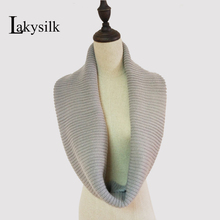[Lakysilk] Women Knitted Snood Circle Loop Cowl Scarves Wraps Ladies Acrylic Neck Scarf For Autumn Winter Warm Solid color(China)