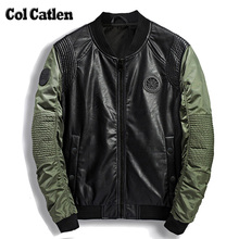High Quality Leather Jacket Men New Brand Autumn Designer Fashion Stand Collar PU Motocycle Jackets Green Flying Pilot Coats 3XL(China)