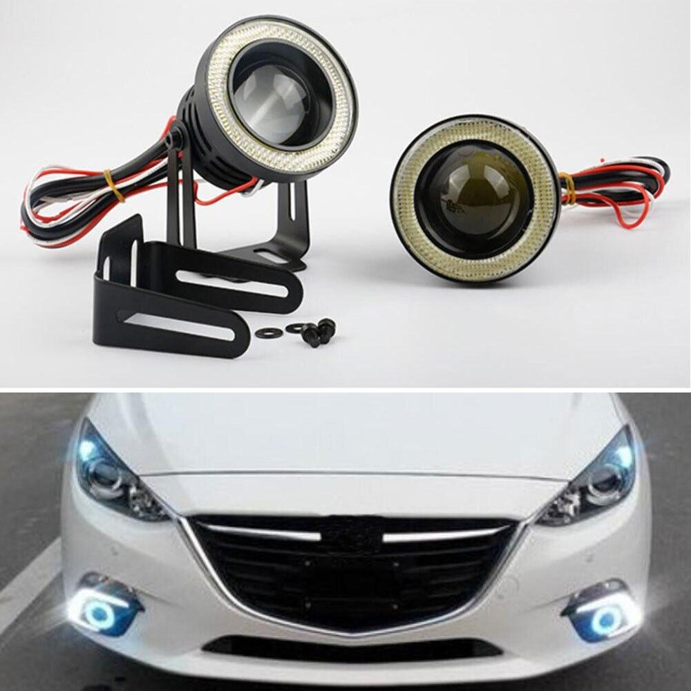 Waterproof COB Blue 2.5 Car LED Projector Fog Light Angel Eye Halo Ring Xenon<br>
