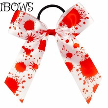 "5"" Blood Splattered Satin Alligator Hair Bows With Elastic Bands For Bay Girl Halloween Fancydress Accessory"