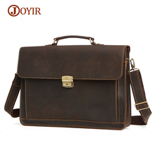 JOYIR Briefcase Men Genuine Leather Briefcase Male Business Men's Bag Document Messenger Bag Men Laptop Bag Brief Case Handbags(China)