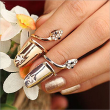 2015 New Hot !!! Fashion Jewelry Dazzling Rhinestone Bohemia Personality Snakeheads Fingernail Wedding Gild Rings For Women R-16