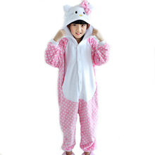 Winter Halloween Costume For Kids Children Girls Animal Cosplay Cute Kawaii Pink Flannel Pajamas Onesie Party Princess Dress
