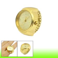 YCYC!5*New Gold Tone Check Pattern Analog Dial Round Case Finger Watch For Ladies