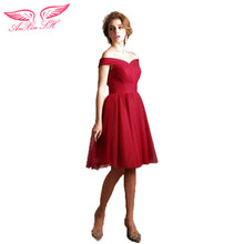 AnXin SH red short bride lace Cocktail Dresses shoulder lace princess red Cocktail Dresses new 1180 S