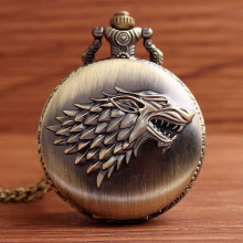 Retro Antique Bronze Pocket Watch Game Of Thrones House Strak Winter is Coming Direwolf Design Men Women FOB Watch Necklace Gift