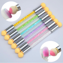 Double-ended Nail Art Gradient Shading Dotting Painting Pen Sponge Head Acrylic Rhinestones Handle Gel UV Brush Tools Manicure