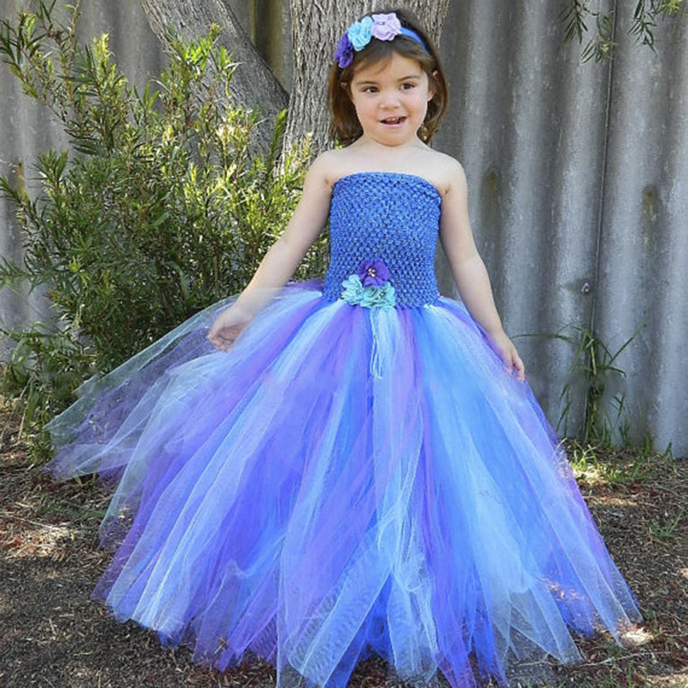 Princess Ariel Girl Tutu Dress Baby Kid Birthday Outfit Dress for Photo Prop Halloween Cosplay Peacock Costume Dress Vestidos<br>