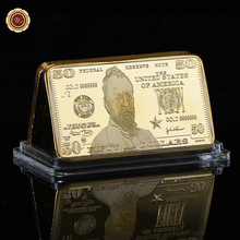 WR American Souvenir Gifts 50 Dollar World Paper Money 24k Gold Bar US Currency Bill Note Metal Bars Art Ornament for Gifts