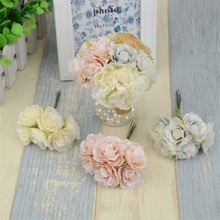 18pcs/lot European retro Silk Scrapbooking Mini Rose Artificial Flowers Heads Bouquet For Wedding Decoration Fake Flowers Wreath