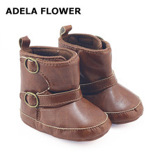 Adela Flower Fashion Cowboy Boots For Boys PU Leather Baby Boy Boots Kids Toddler Girl Winter Shoes First Walkers 0-18 Months(China)