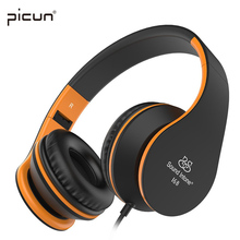 Picun Sound Intone I68 Foldable Headphones with Mic Volume Control Music Headsets Headphone for iPhone Android Smartphone MP3(China)