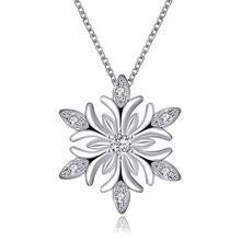 Buy Zircon Snowflake Long Pendant Necklace Sweater Chain Fashion Metal Chain Crystal Rhinestone Flower Pendant Charm Choker Necklace for $2.25 in AliExpress store