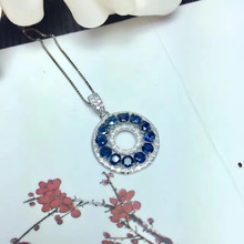 Natural blue sapphire stone pendant S925 silver Natural Gemstone Pendant Necklace round wheel women girlfriend gift fine jewelry