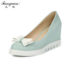Fanyuan 2017 Fashion Sexy Casual Wedges High Heel Woman Pumps Round Toe Bowtie Charm Show Skidproof Slip On Dress Shoes