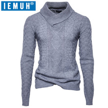 IEMUH 2017 Autumn Winter Men's Wool Sweaters Men's Fashion Collar Color Mandarin Collar Sweater Casual Standard of Sweaters(China)
