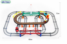 New arrival akitoo 26888  Thomas Electric Rail Car Large Double Track With Rainbow Bridge Set Puzzle Toys